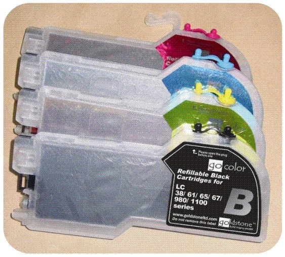 REFILLABLE INKJET CARTRIDGE SET WITH INK (FOR BROTHER PRINTERS)